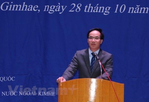 Ông Trần Trường Thủy, Phó Đại sứ Việt Nam tại Hàn Quốc phát biểu. (Ảnh: Mạnh Hùng/Vietnam+)