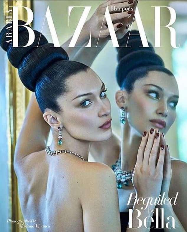 Siêu mẫu Bella Hadid khoe nhan sắc kiêu sa trên tạp chí Harpers Bazaar số mới nhất. Chân dài 21 tuổi búi tóc lạ mắt và đeo nữ trang đắt giá kèm lối trang điểm thanh lịch. Bella Hadid là một trong những siêu mẫu trẻ đắt show nhất thế giới hiện nay, cô là gương mặt quảng cáo của Dior, Bulgary và thường xuyên xuất hiện trong các tuần lễ thời trang danh tiếng trong vai trò vơ đét.