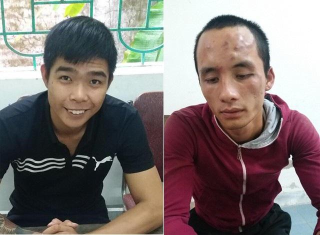 Đặng Bá Đạt (bên trái) và Lê Viết Đạt tại cơ quan điều tra Công an huyện Nghi Lộc.