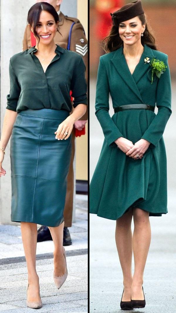 Vẻ sang trọng và tinh tế của hai công nương Kate Middleton và Meghan Markle trong những bộ đồ màu xanh