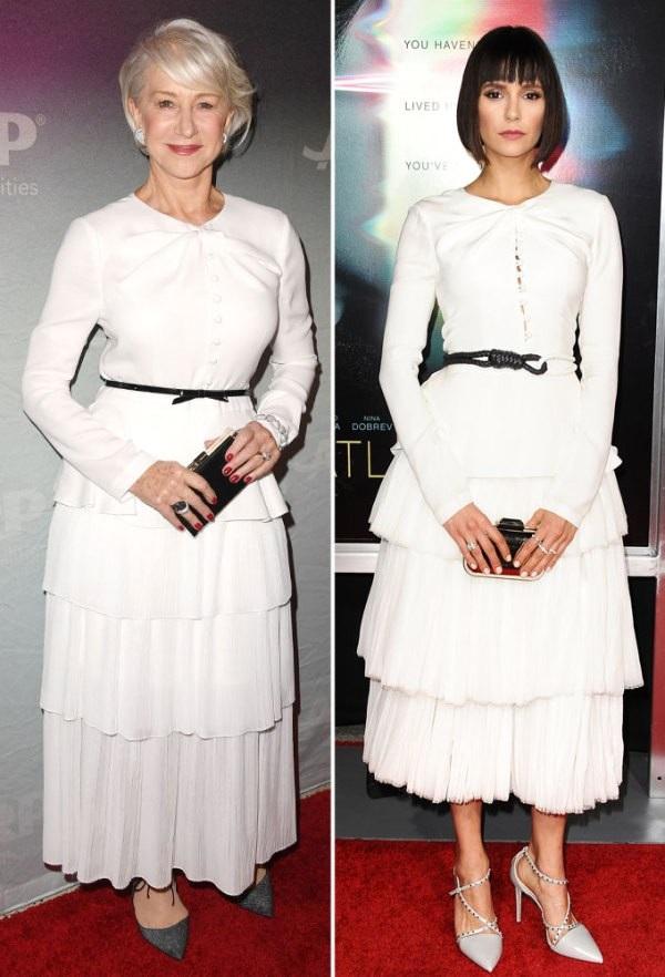 Helen Mirren và Nina Dobrev trẻ trung với váy trắng Prabal Gurung