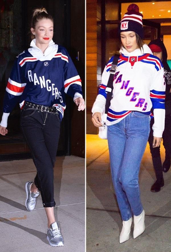 Gigi và Bella Hadid với 2 chiếc áo chỉ khác màu