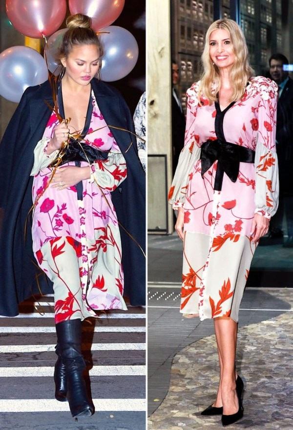 Chrissy Teigen và Ivanka Trump trẻ trung với váy Joanna Ortiz