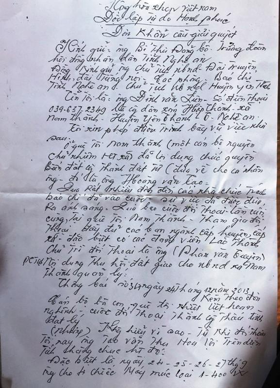Đơn thư của ông Liên gửi các cơ quan chức năng tố cáo hành vi ngang nhiên lấn chiếm đất công của ông Hoàng Văn Tạo - Nguyên chủ nhiệm HTX Nam Thành.
