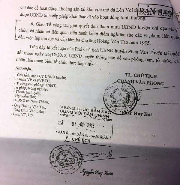Thông báo kết luận số 01 ngày 2/1/2013, của UBND huyện Yên Thành không công nhận tính hợp pháp về 90,1 ha đất lâm nghiệp của ông Tạo nhưng chính quyền và các cơ quan vẫn chây ì không giải quyết.