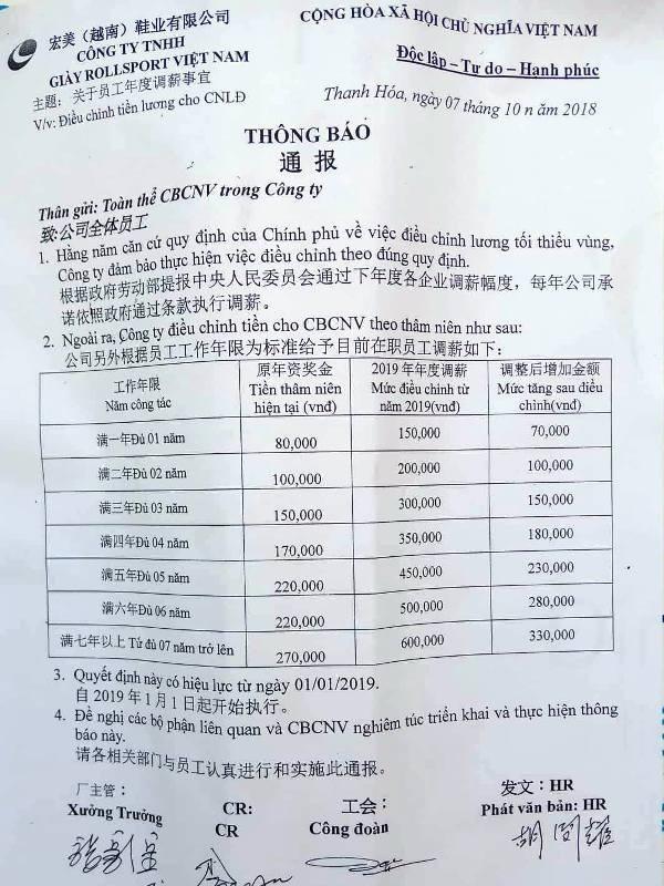 Thông báo của Công ty TNHH giày Rollsport 2 Việt Nam.