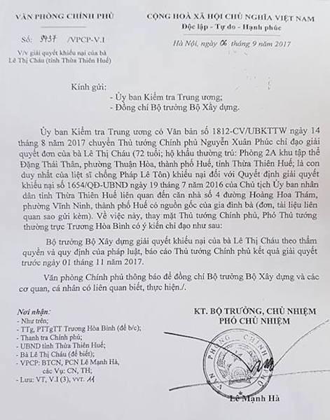 Nhiều cơ quan Trung ương chỉ đạo giải quyết dứt điểm vụ việc khiếu kiện của bà Lê Thị Cháu.