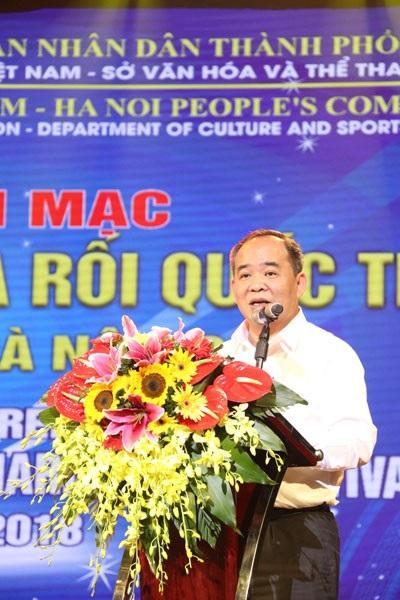 Thứ trưởng Bộ Văn hóa, Thể thao và Du lịch Lê Khánh Hải phát biểu khai mạc.