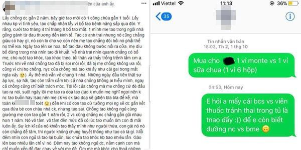 Tâm sự của người vợ kèm tin nhắn vô cảm với chồng. Ảnh chụp màn hình