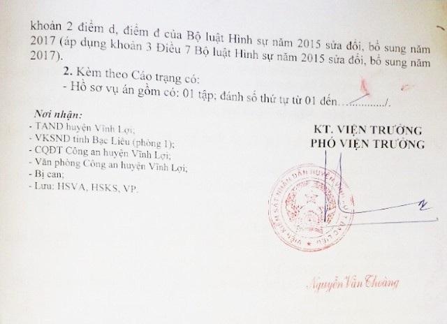 Cáo trạng của Viện KSND huyện Vĩnh Lợi truy tố ông Nguyễn Văn Phèn tội Cướp tài sản