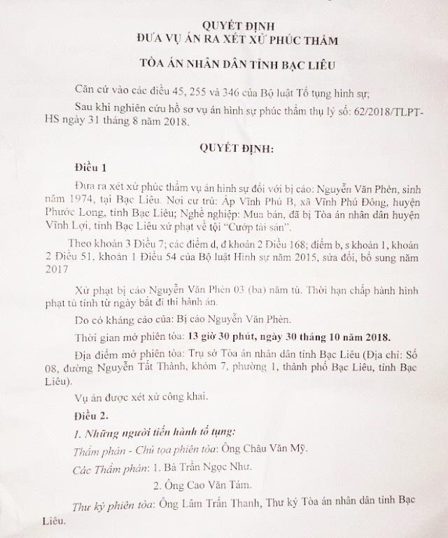 Quyết định đưa vụ án ra xét xử phúc thẩm của TAND tỉnh Bạc Liêu. HĐXX đã tuyên y án sơ thẩm 3 năm tù đối với bị cáo Nguyễn Văn Phèn về tội Cướp tài sản.
