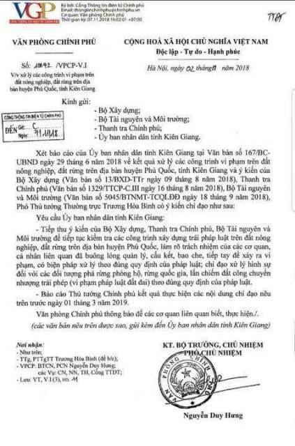 Công văn chỉ đạo của Phó Thủ tướng thường trực Trương Hòa Bình về việc xử nghiêm hành vi phá rừng phòng hộ, rừng quốc gia và cán bộ tiếp tay dẫn đến sai phạm