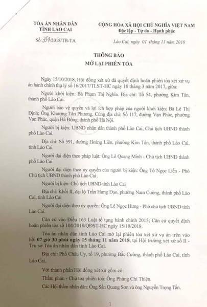 Người dân kiên trì khởi kiện, Chủ tịch tỉnh Lào Cai lại chuẩn bị hầu toà - 1
