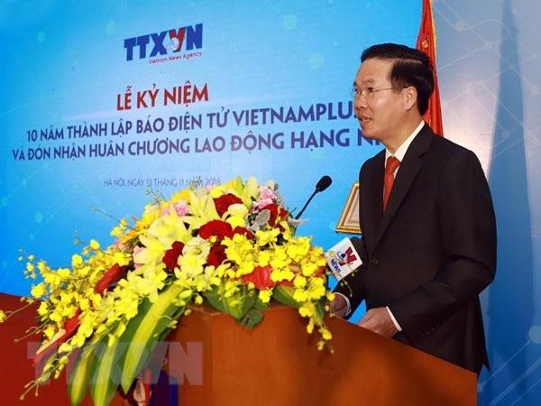 Ông Võ Văn Thưởng - Ủy viên Bộ Chính trị, Trưởng Ban Tuyên giáo Trung ương phát biểu tại buổi lễ. (Ảnh: TTXVN)