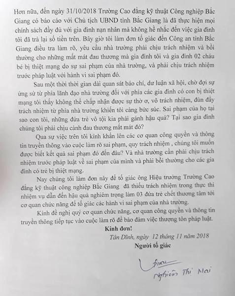 Gia đình nạn nhân đã chính thức gửi đơn tố giác tội phạm đến UBND tỉnh Bắc Giang, Công an tỉnh Bắc Giang và các sở ngành liên quan sau khi trường này có bản báo cáo gửi Chủ tịch tỉnh Bắc Giang.