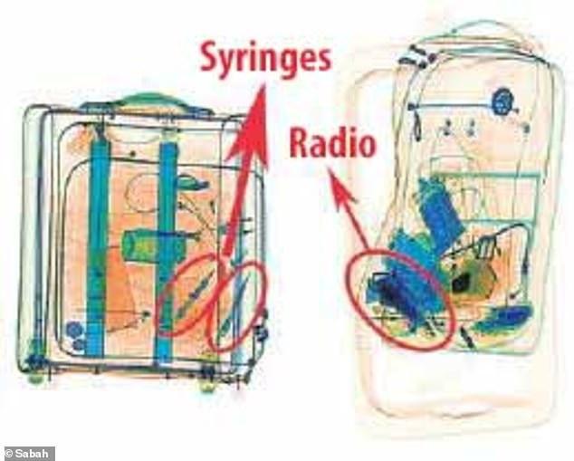 Hình chụp X-quang cho thấy 2 ống xi lanh, thiết bị vô tuyến trong hành lý của 15 nghi phạm vụ sát hại nhà báo (Ảnh: Sabah)