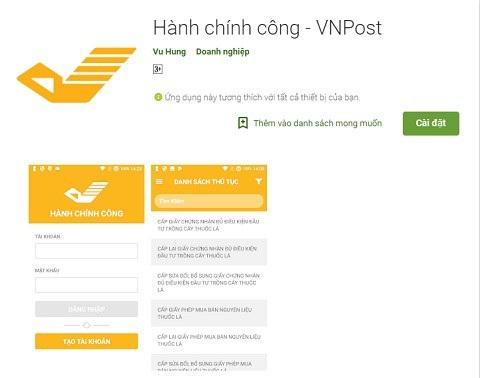 Ứng dụng của Giải pháp hành chính công VNPOST-PA đang được cung cấp miễn phí