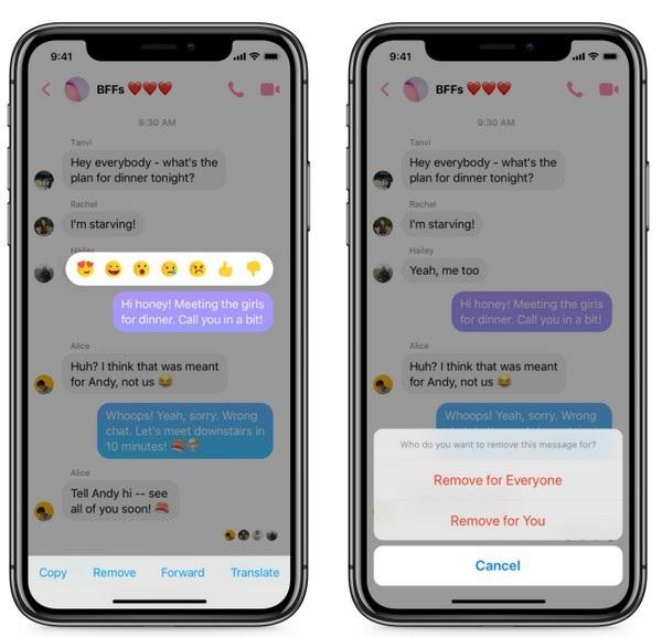 Tính năng xóa tin nhắn đã gửi được trang bị cho ứng dụng Messenger trên iOS và Android