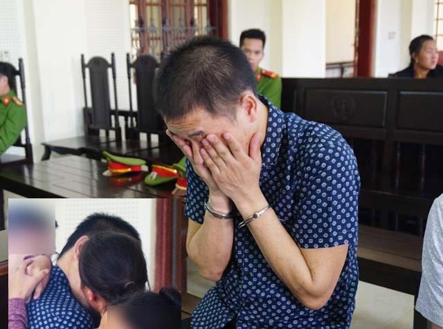 Xểnh Hạ bật khóc khi bị đề nghị mức án tử hình (ảnh lớn) và nụ hôn vội vã với người vợ trẻ trước khi nghe tòa tuyên án (ảnh nhỏ).