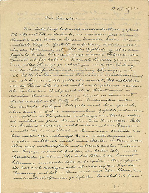 Trong một bức thư viết năm 1922, Einstein đã khớp nối những nỗi sợ chính xác một cách khó tin về sự trỗi dậy của chủ nghĩa dân tộc, chủ nghĩa bài Do Thái và bạo lực ở nước Đức quê hương ông. Ảnh của: Nhà Đấu giá Kedem.