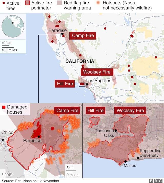 Quy mô các vụ cháy rừng tại California (Ảnh: BBC)