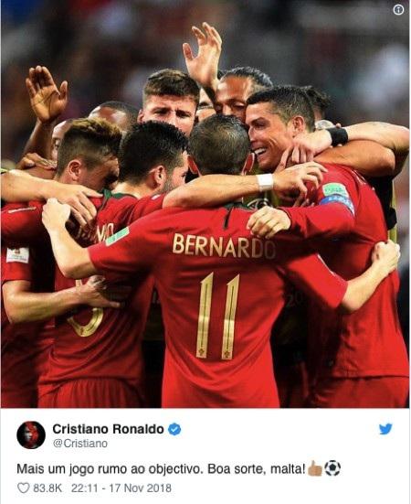 C.Ronaldo đã gửi lời cổ vũ đến các đồng đội tại tuyển Bồ Đào Nha
