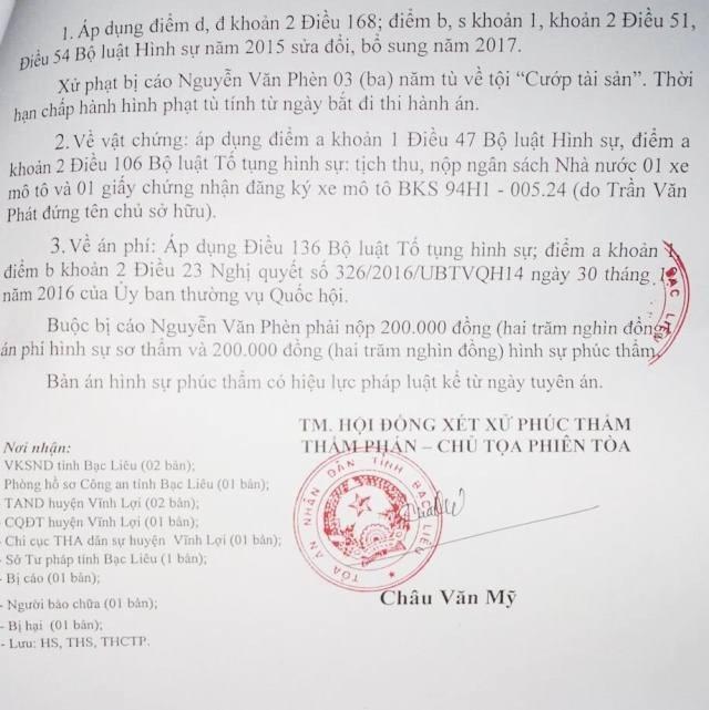 ...và bản án phúc thẩm của TAND tỉnh Bạc Liêu đã tuyên 3 năm tù đối với bị cáo Nguyễn Văn Phèn (người đi đòi nợ) được cho là không thuyết phục.