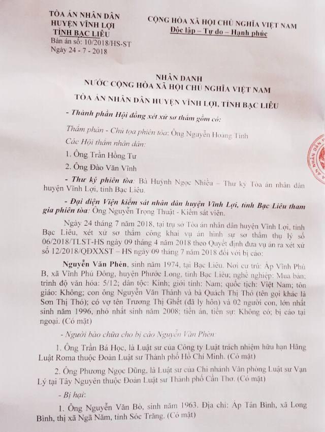 """Vụ """"đi đòi nợ, bị truy tố cướp tài sản"""": Hai cấp toà tỉnh Bạc Liêu tuyên án đã khách quan? - 3"""