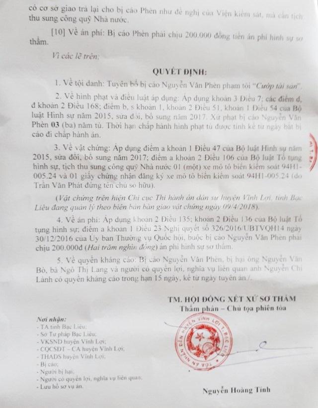 Bản án sơ thẩm của TAND huyện Vĩnh Lợi...