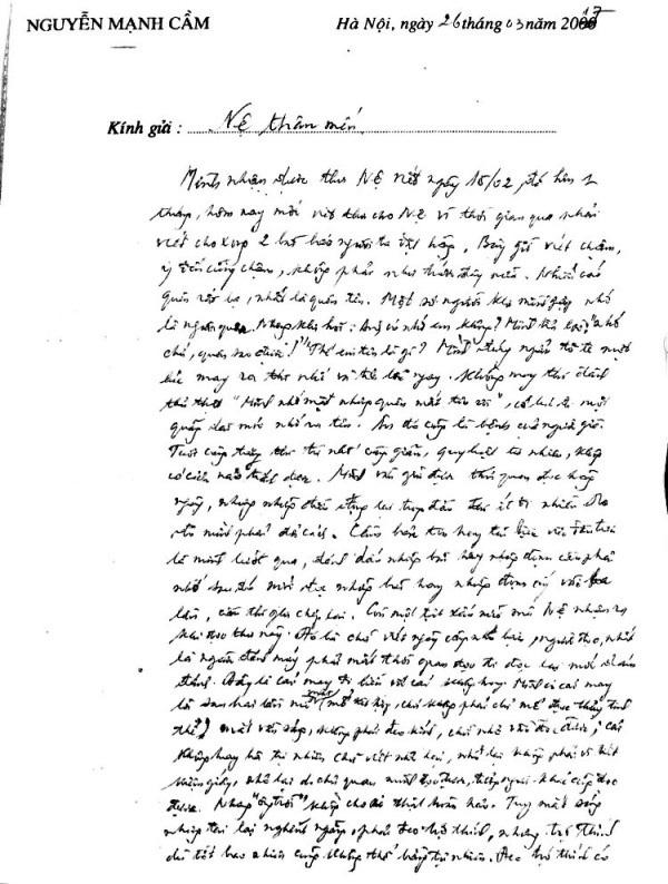 Bức thư của nguyên Phó Thủ tướng Chính phủ Nguyễn Mạnh Cầm gửi ông Phạm Hữu Nệ.