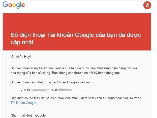 Email được Google gửi đến thông báo về việc cập nhật số điện thoại khiến nhiều người lo lắng