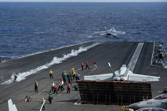 Thậm chí năm ngoái, bộ 3 tàu sân bay của Mỹ gồm USS Nimitz, USS Ronald Reagan và USS Theodore Roosevelt đã tiến hành một cuộc diễn tập chung ở Tây Thái Bình Dương. (Ảnh: US Navy)