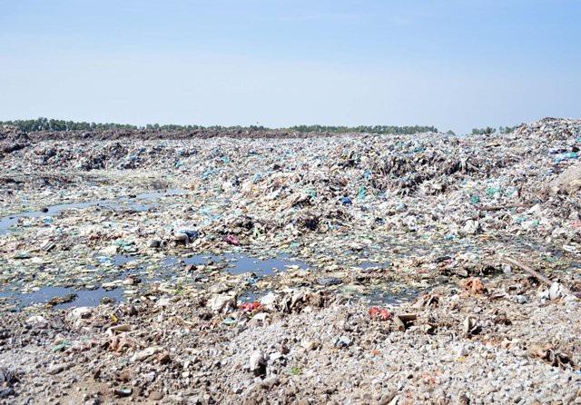 Bãi rác của Nhà máy xử lý rác TP Cà Mau còn tồn động khá lớn.