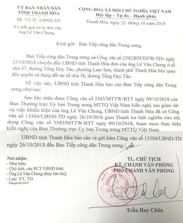 Văn bản UBND tỉnh Thanh Hóa hồi đáp Ban Tiếp công dân Trung ương về việc xử lý đơn của ông Lê Văn Chung, chính quyền tỉnh này cho biết đang giao Thanh tra nghiên cứu giải quyết vụ việc.