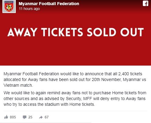 LĐBĐ Myanmar thông báo đã bán hết 2.400 vé cho CĐV Việt Nam