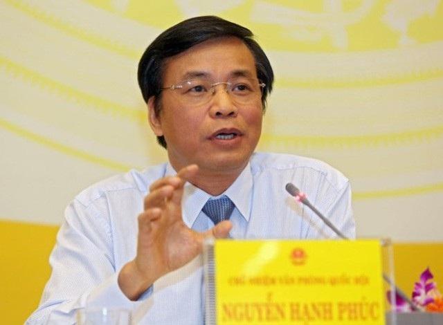 Ông Nguyễn Hạnh Phúc tại buổi họp báo Quốc hội