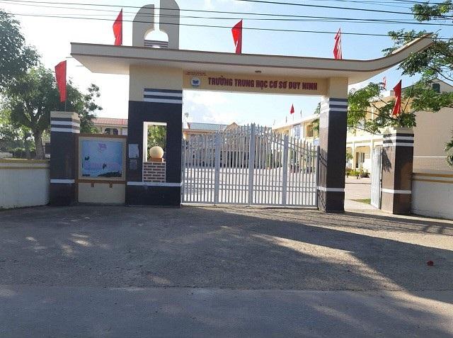 Trường THCS Duy Ninh, huyện Quảng Ninh, tỉnh Quảng Bình - nơi xảy ra sự việc.