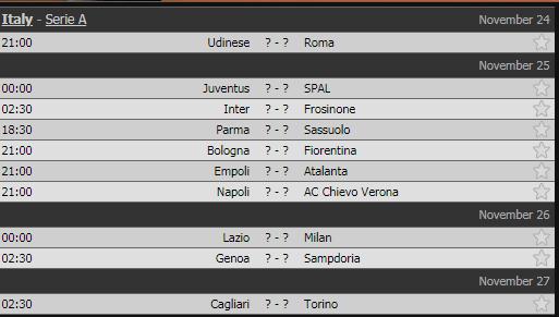 Lịch thi đấu vòng 13 Serie A