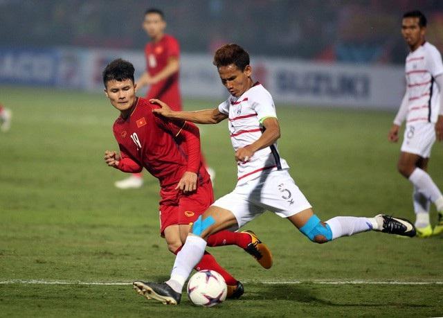 Quang Hải thi đấu rất hay trong trận đấu với Campuchia