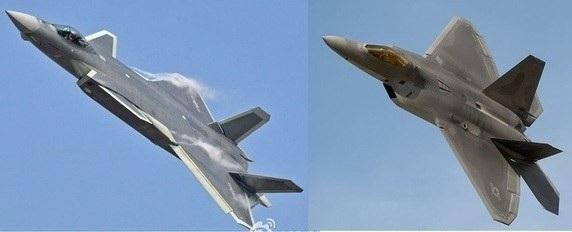 Máy bay J-20 của Trung Quốc (bên trái) bị nghi là được phát triển dựa trên F-22 của Mỹ (Ảnh: Quora)