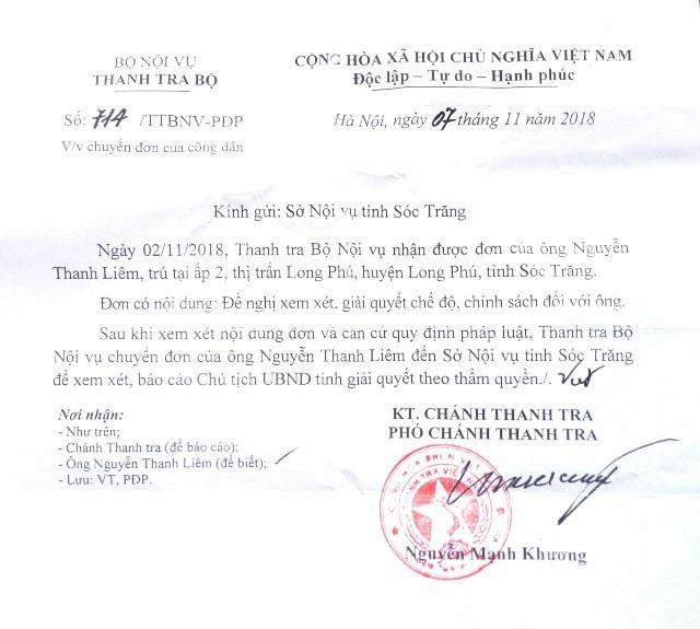 Văn bản của Bộ Nội vụ gửi Sở Nội vụ Sóc Trăng.