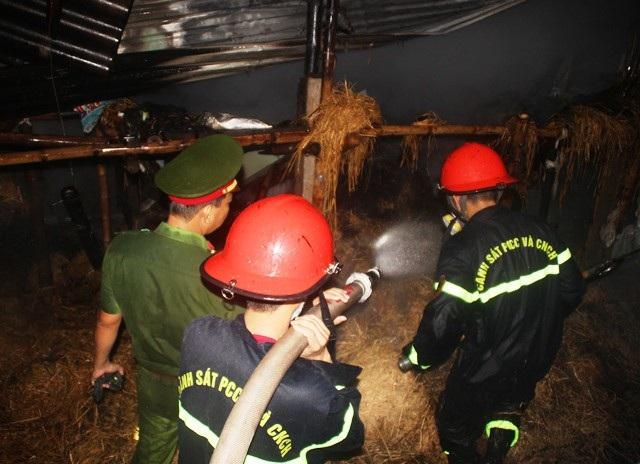 Dù trời mưa nhưng ngọn lửa cháy âm ỉ trong kho chứa rơm khiến việc chữa cháy gặp khó khăn.