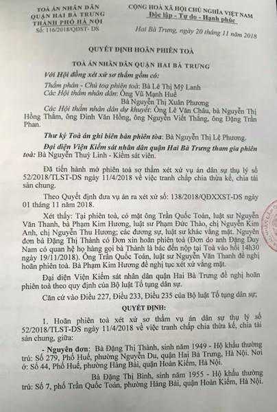 """Hà Nội: TAND quận Hai Bà Trưng chuẩn bị mở phiên toà, cụ bà 76 tuổi """"nín thở"""" chờ đợi! - 1"""