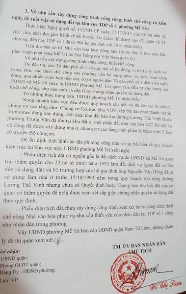 UBND phường Mễ Trì đã rà soát và chính thức kiến nghị cấp những cuốn sổ đỏ đầu tiên cho người dân.