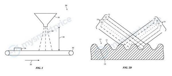 Hình ảnh minh họa trong bằng sáng chế mới của Apple cho thấy lớp vỏ iPhone sẽ đổi màu sắc khi thay đổi góc nhìn
