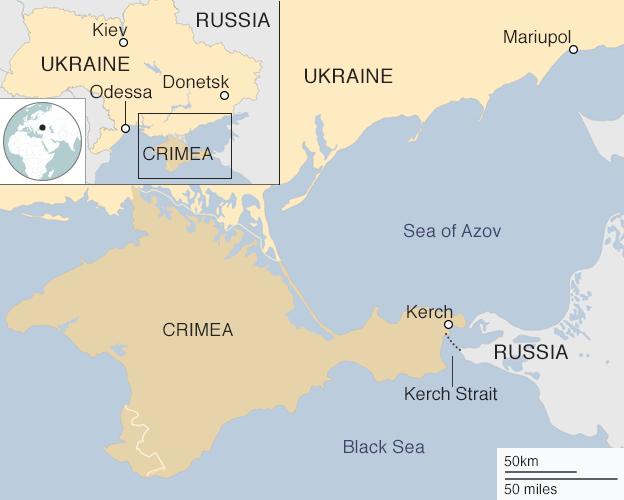 Bản đồ vùng biển Azov tiếp giáp Nga, Ukraine và Crimea. (Ảnh: BBC)