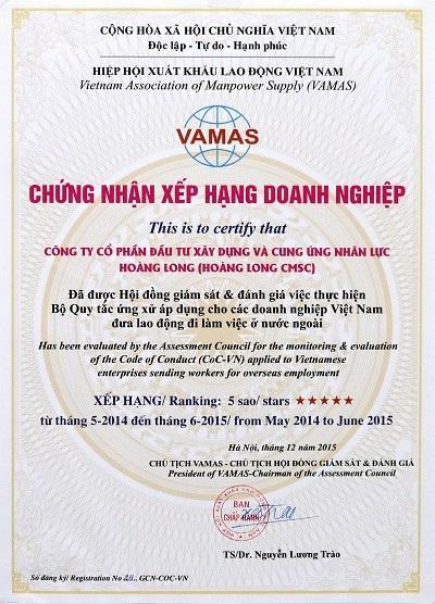 bảng xếp hạng các doanh nghiệp XKLĐ Việt Nam.