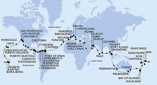 Lộ trình của chuyến du hành vòng quanh thế giới