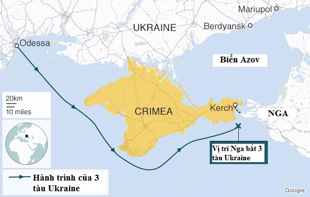 Đồ họa hành trình di chuyển của 3 tàu Ukraine qua eo biển Kerch trước khi bị Nga bắt giữ. Vị trí các cảng Mariupol và Berdyansk nằm góc phải bản đồ. (Ảnh: BBC)