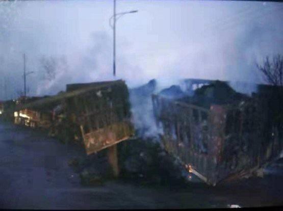Vụ hỏa hoạn thiêu rụi nhiều cơ sở vật chất. (Ảnh: CGTN)